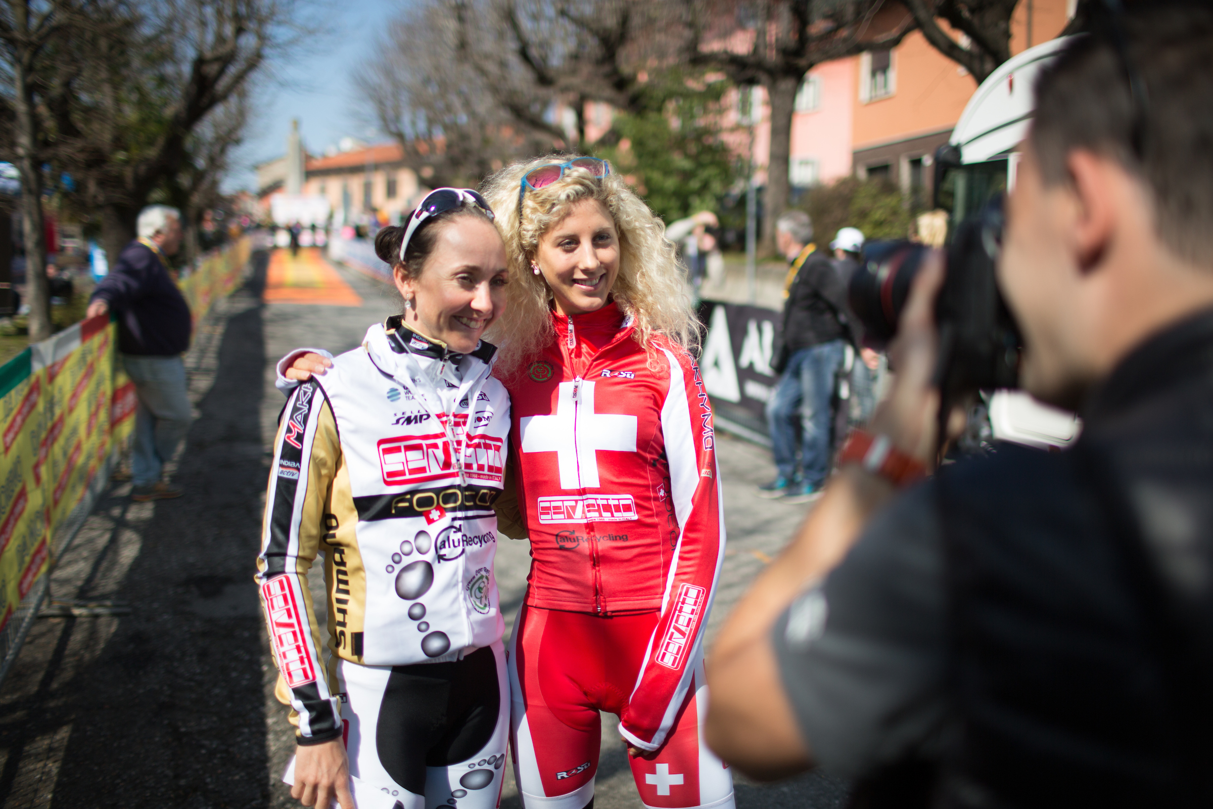 Eva Lechner and Jolanda Neff (both Servetto Footon Cycling Team) pose for a photograph before the start of Trofeo Alfredo Binda - a 123.3km road race from Gavirate to Cittiglio on March 20, 2016 in Varese, Italy.