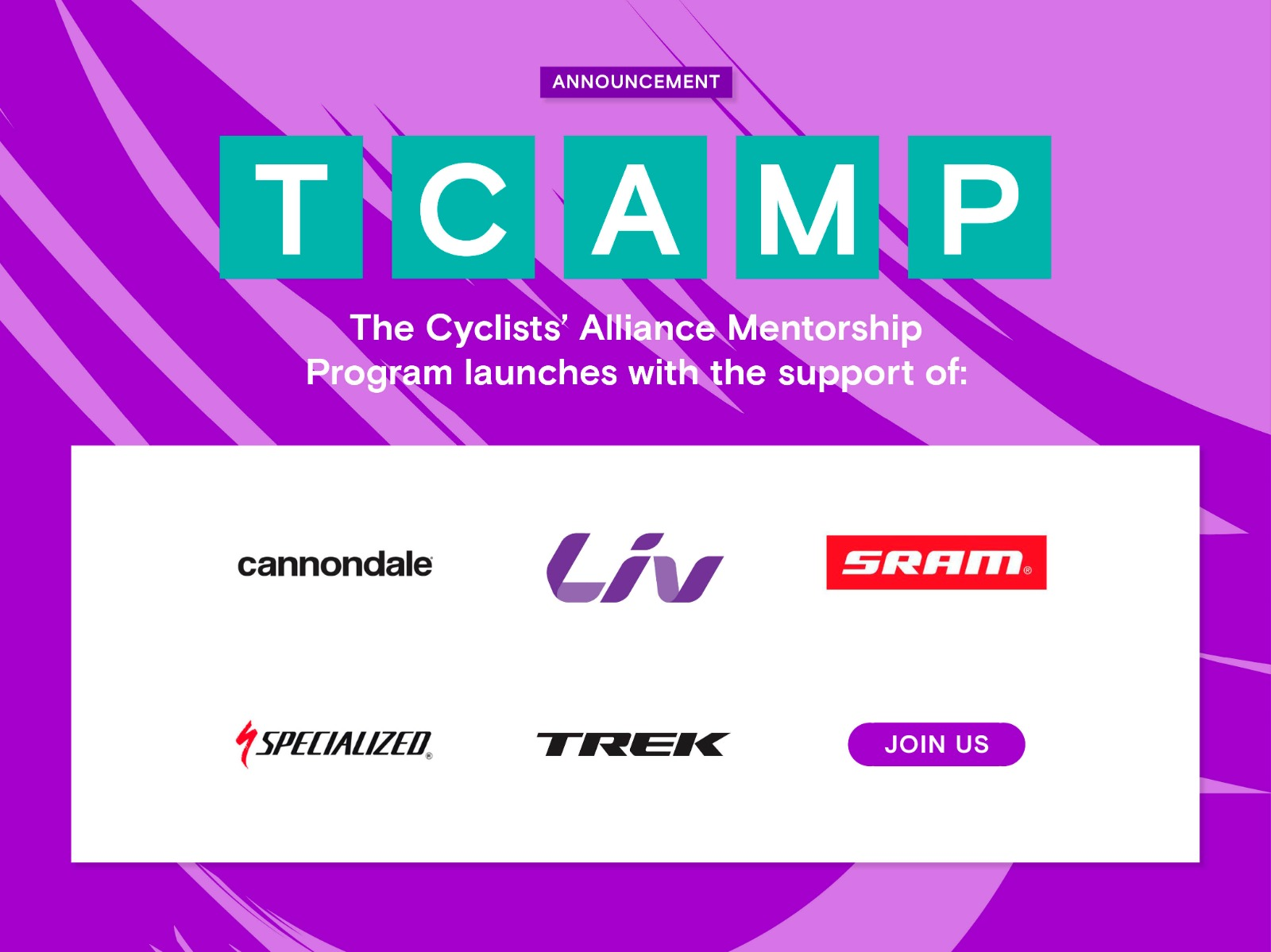The Cyclists' Alliance announces 'TCAMP' a New, Innovative Mentor Program for Professional Female Cyclists